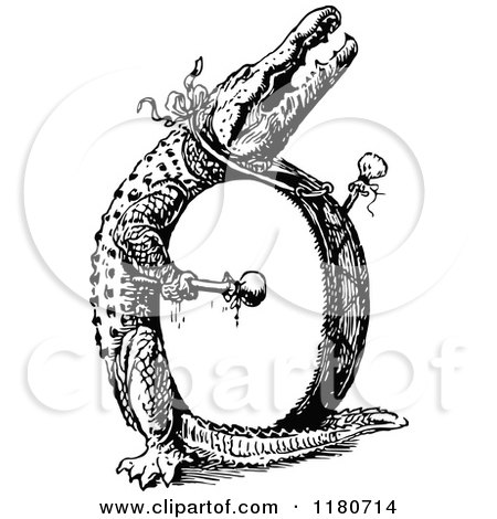 Clipart of a Retro Vintage Black and White Letter O and Drummer Alligator - Royalty Free Vector Illustration by Prawny Vintage
