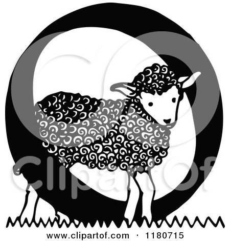 Clipart of a Retro Vintage Black and White Letter O and Lamb - Royalty Free Vector Illustration by Prawny Vintage