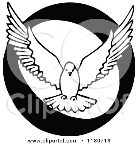 Clipart of a Retro Vintage Black and White Letter O and Dove - Royalty Free Vector Illustration by Prawny Vintage