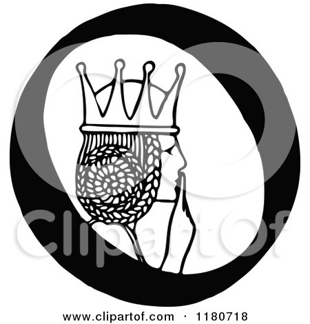 Clipart of a Retro Vintage Black and White Letter O and Princess - Royalty Free Vector Illustration by Prawny Vintage