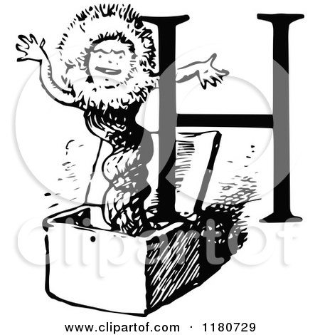 Clipart of a Retro Vintage Black and White Letter H and Jack in the Box - Royalty Free Vector Illustration by Prawny Vintage
