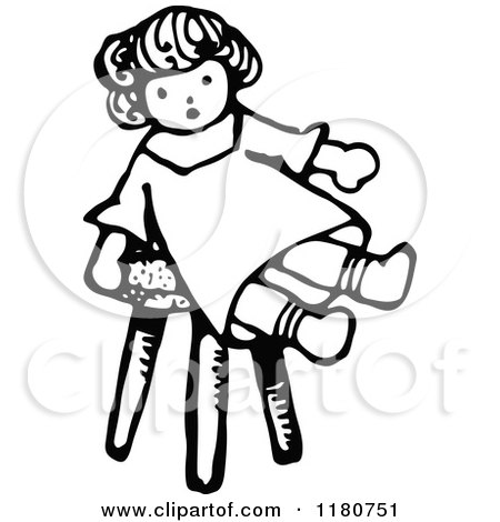Clipart of a Retro Vintage Black and White Doll on a Stool ... (450 x 470 Pixel)