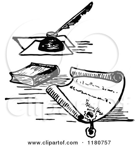 Clipart of a Retro Vintage Black and White Letter with a Wax Seal Book and Ink - Royalty Free Vector Illustration by Prawny Vintage