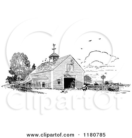 Clipart of a Retro Vintage Black and White Barn - Royalty Free Vector Illustration by Prawny Vintage
