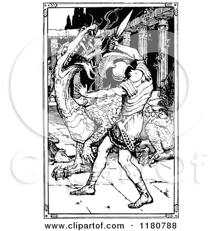Clipart of a Retro Vintage Black and White Knight Slaying a Dragon - Royalty Free Vector Illustration by Prawny Vintage