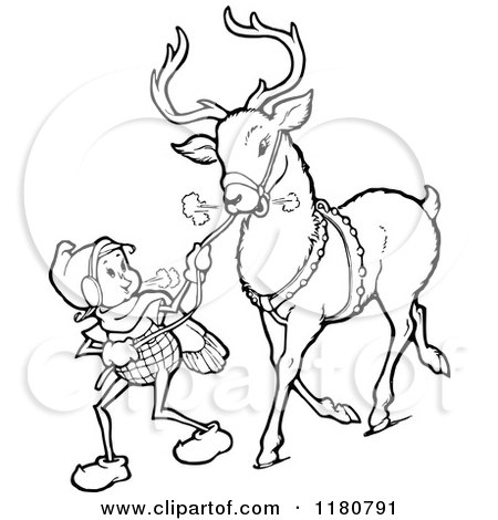 Clipart Of A Retro Vintage Black And White Christmas Elf Leading Reindeer