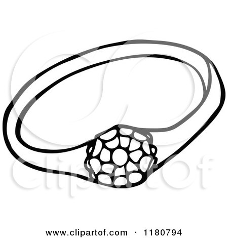 Clipart of a Vintage Black and White Sparkling Diamond Ring