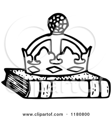 Clipart Of A Retro Vintage Black And White Crown On A Book