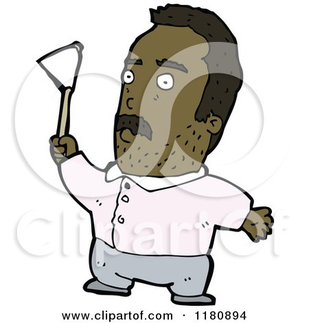 Cartoon of an Black Man with a Flag - Royalty Free Vector Illustration by lineartestpilot