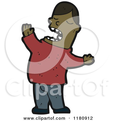 Cartoon of an Black Man Singing - Royalty Free Vector Illustration by lineartestpilot