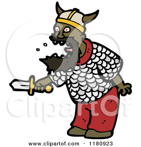 Cartoon of an Black Man Wearing a Viking Costume - Royalty Free Vector Illustration by lineartestpilot