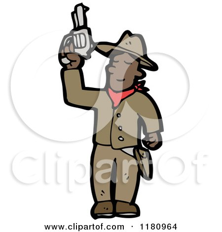 Cartoon of an Black Cowboy with a Gun - Royalty Free Vector Illustration by lineartestpilot