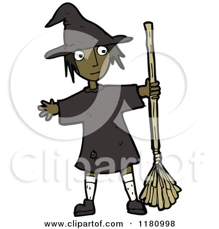 Cartoon of a Black Girl Wearing a Witch Costume - Royalty Free Vector Illustration by lineartestpilot