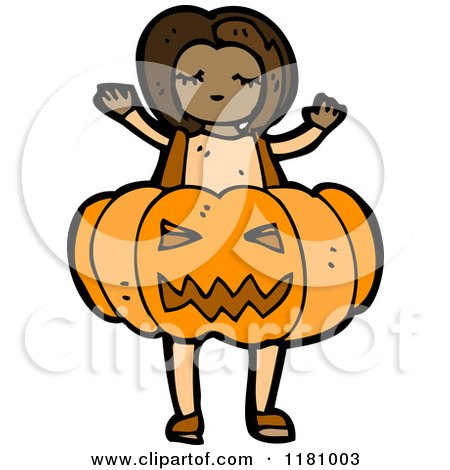 Cartoon of a Black Girl Wearing a Jack O Lantern Costume - Royalty Free Vector Illustration by lineartestpilot