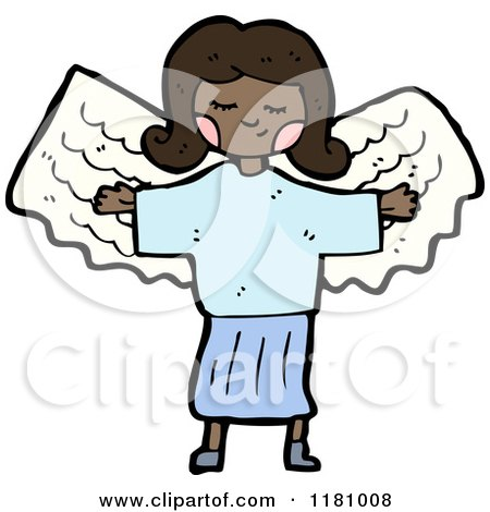Cartoon of a Black Girl Wearing an Angel Costume - Royalty Free Vector Illustration by lineartestpilot