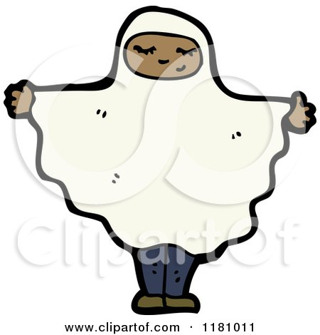 Cartoon of a Black Girl Wearing a Ghost Costume - Royalty Free Vector Illustration by lineartestpilot