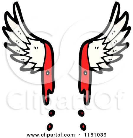 Cartoon of Bloody Angel Wings - Royalty Free Vector Illustration by lineartestpilot