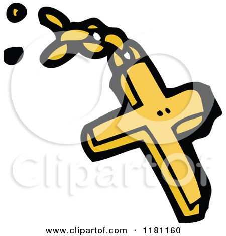 Clipart Of A Christian Cross Pendant And Broken Chain