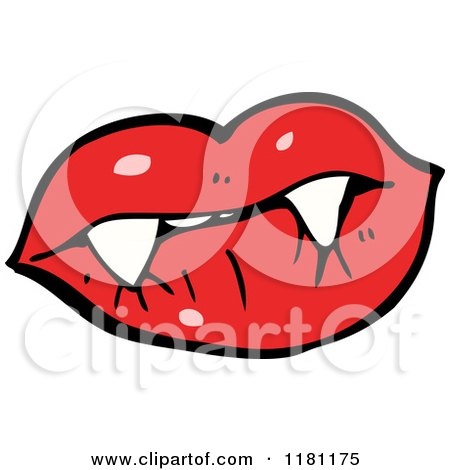 Cartoon of a Vampire Lips - Royalty Free Vector Illustration by lineartestpilot