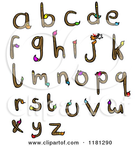 Cartoon of the Alphabet Made From Paintbrushes - Royalty Free Vector Illustration by lineartestpilot