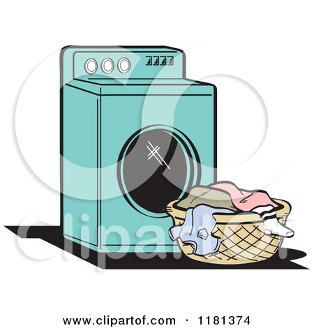 Cartoon Of A Black And White Retro Washing Machine And