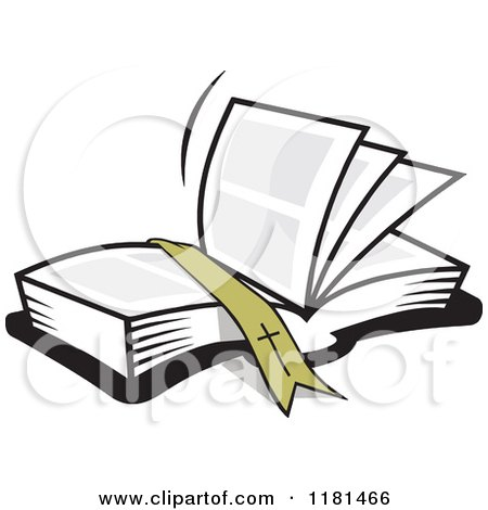 Cartoon of a Ribbon Resting on an Open Bible Book - Royalty Free Vector Clipart by Johnny Sajem