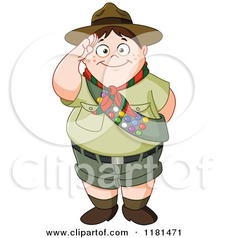 Cartoon of a Chubby Saluting Scout Boy - Royalty Free Vector Clipart by yayayoyo