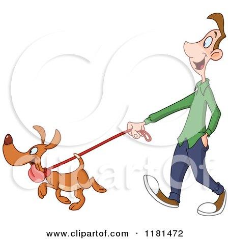 Cartoon of a Happy Dog Leading a Man on a Walk - Royalty Free Vector Clipart by yayayoyo