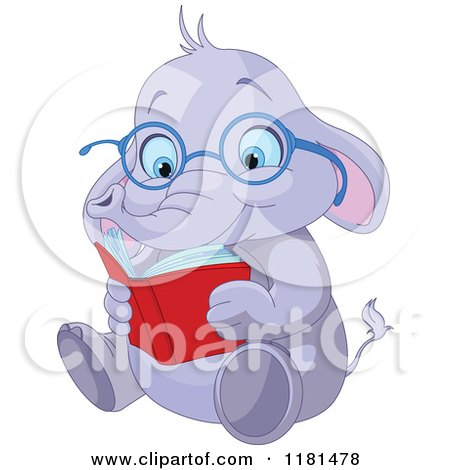 Cartoon of a Cute Elephant Wearing Glasses and Reading - Royalty Free Vector Clipart by Pushkin