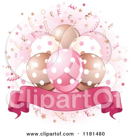 Cartoon of a Banner Under Party Balloons and Confetti with Pink - Royalty Free Vector Clipart by Pushkin