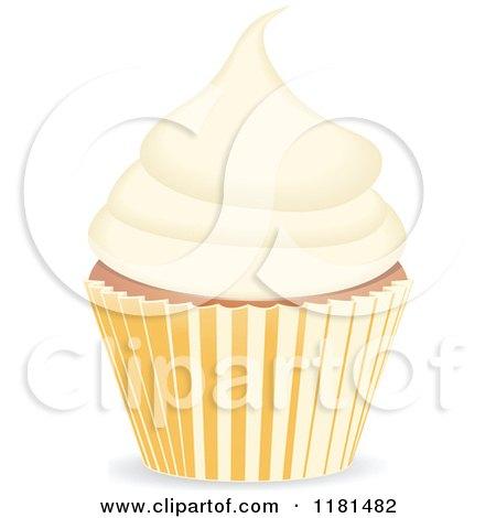 Clipart of a Vanilla Cupcake - Royalty Free Vector Illustration by elaineitalia
