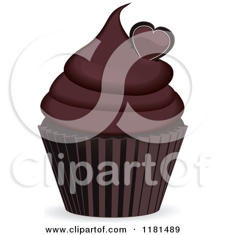 Clipart of a Chocolate Cupcake with a Heart - Royalty Free Vector Illustration by elaineitalia