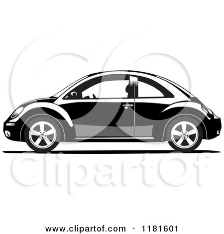 Clipart of a Grayscale Volkswagen Beetle - Royalty Free Vector ...