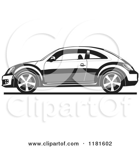 Clipart of a Grayscale New Volkswagen Beetle - Royalty Free Vector Illustration by David Rey