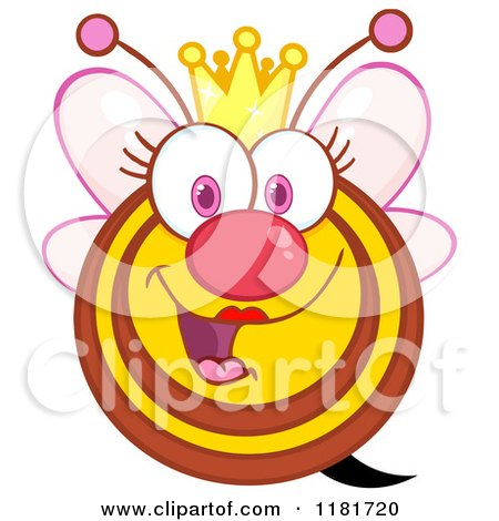 Cartoon of a Happy Queen Bee with Pink Wings and a Crown - Royalty Free Vector Clipart by Hit Toon