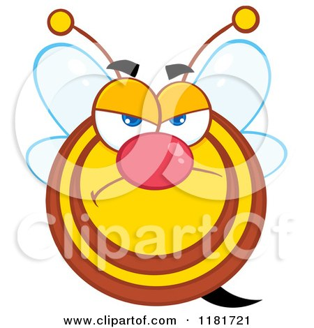 Cartoon of a Grumpy Bee - Royalty Free Vector Clipart by Hit Toon