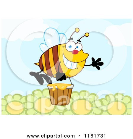 cartoon of a happy waving bee flying with a honey bucket