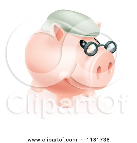 Cartoon of a Pension Piggy Bank with Glasses and a Hat - Royalty Free Vector Clipart by AtStockIllustration