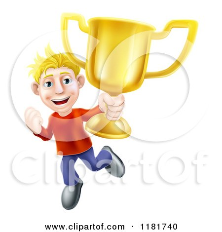 Cartoon of a Victorious Blond Man Holding a Gold Trophy Cup - Royalty Free Vector Clipart by AtStockIllustration