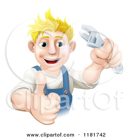 Cartoon of a Happy Blond Worker Man Holding a Thumb up and Wrench - Royalty Free Vector Clipart by AtStockIllustration