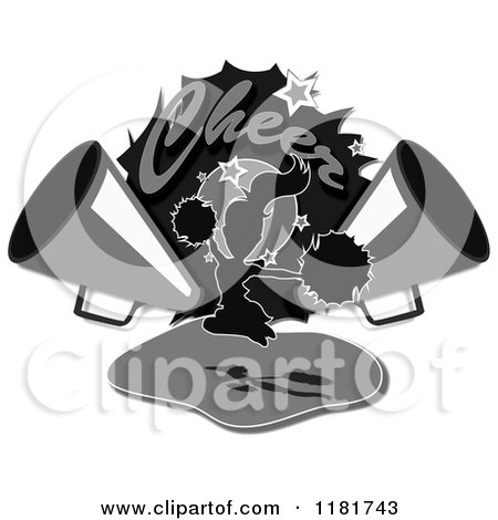 Clipart of Grayscale Cheer Text over a Cheerleader and Megaphones - Royalty Free Illustration by MacX