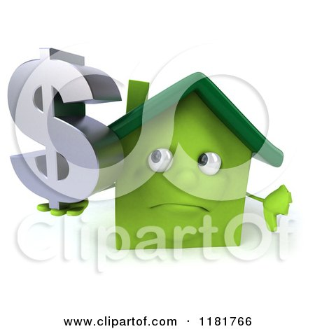 Clipart of a 3d Green House Holding a Dollar Symbol and a Thumb down - Royalty Free CGI Illustration by Julos