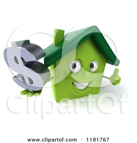 Clipart of a 3d Green House Holding a Dollar Symbol and a Thumb up - Royalty Free CGI Illustration by Julos