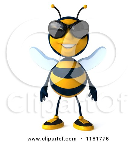 Clipart of a 3d Bee Mascot Wearing Sunglasses - Royalty Free CGI Illustration by Julos