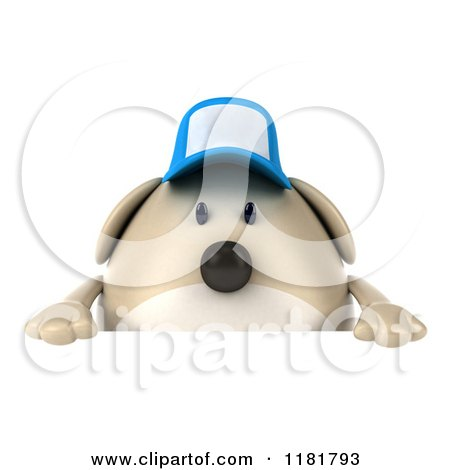 Clipart of a 3d Chubby Dog Wearing a Cap over a Sign - Royalty Free CGI Illustration by Julos
