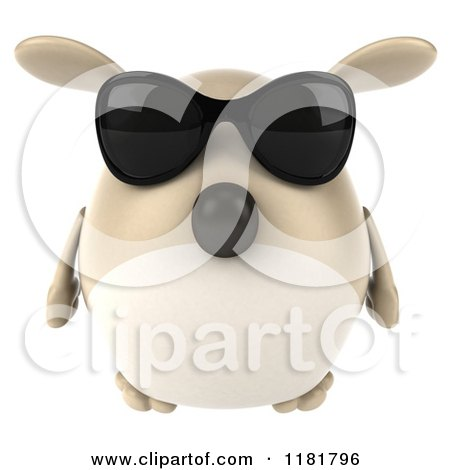 Clipart of a 3d Chubby Dog Wearing Sunglasses - Royalty Free CGI Illustration by Julos