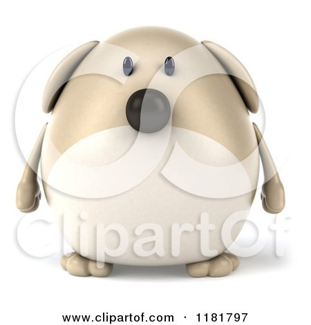 Clipart of a 3d Chubby Dog - Royalty Free CGI Illustration by Julos