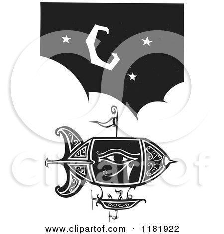 Clipart of a Blimp over Puffy Clouds and a Crescent Moon Black and White Woodcut - Royalty Free Vector Illustration by xunantunich