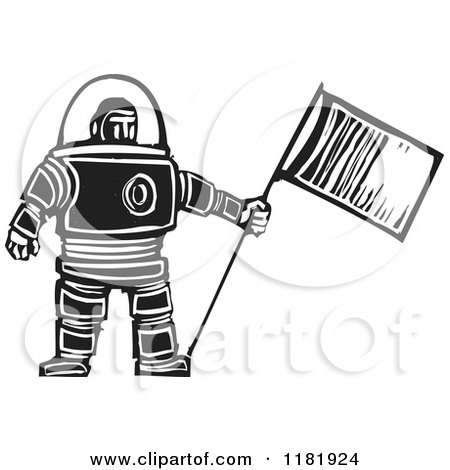 Clipart of a Male Astronaut Holding a Flag Black and White Woodcut - Royalty Free Vector Illustration by xunantunich