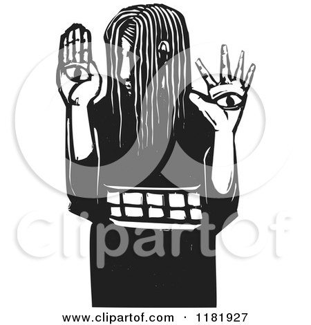 Clipart of a Girl with Eyes on Her Hands Black and White Woodcut - Royalty Free Vector Illustration by xunantunich